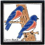 Blue Birds Tile,Blue Birds Wall Plaque,Blue Birds Trivet