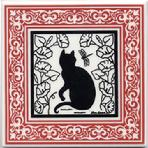 CA-10-R Garden Cat, Ruby Victorian Border with Morning Glories