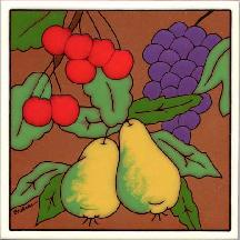 Mixed Fruit tile,ceramic trivet, wall plaques with fruit