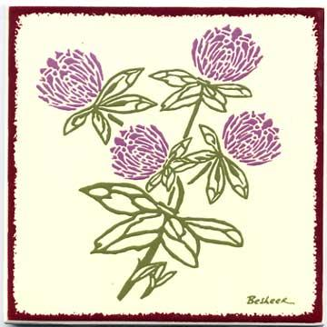 red clover tile, Wall Plaque, Trivet BB-17