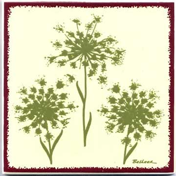 Queen Anne's Lace as a tile, trivet, or wall plaque. Can be used in a kitchen backsplash or bathroom tile.